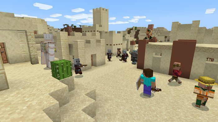 A village in Minecraft's desert biome