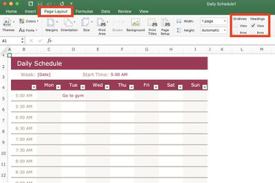Print Gridlines and Headings in Excel