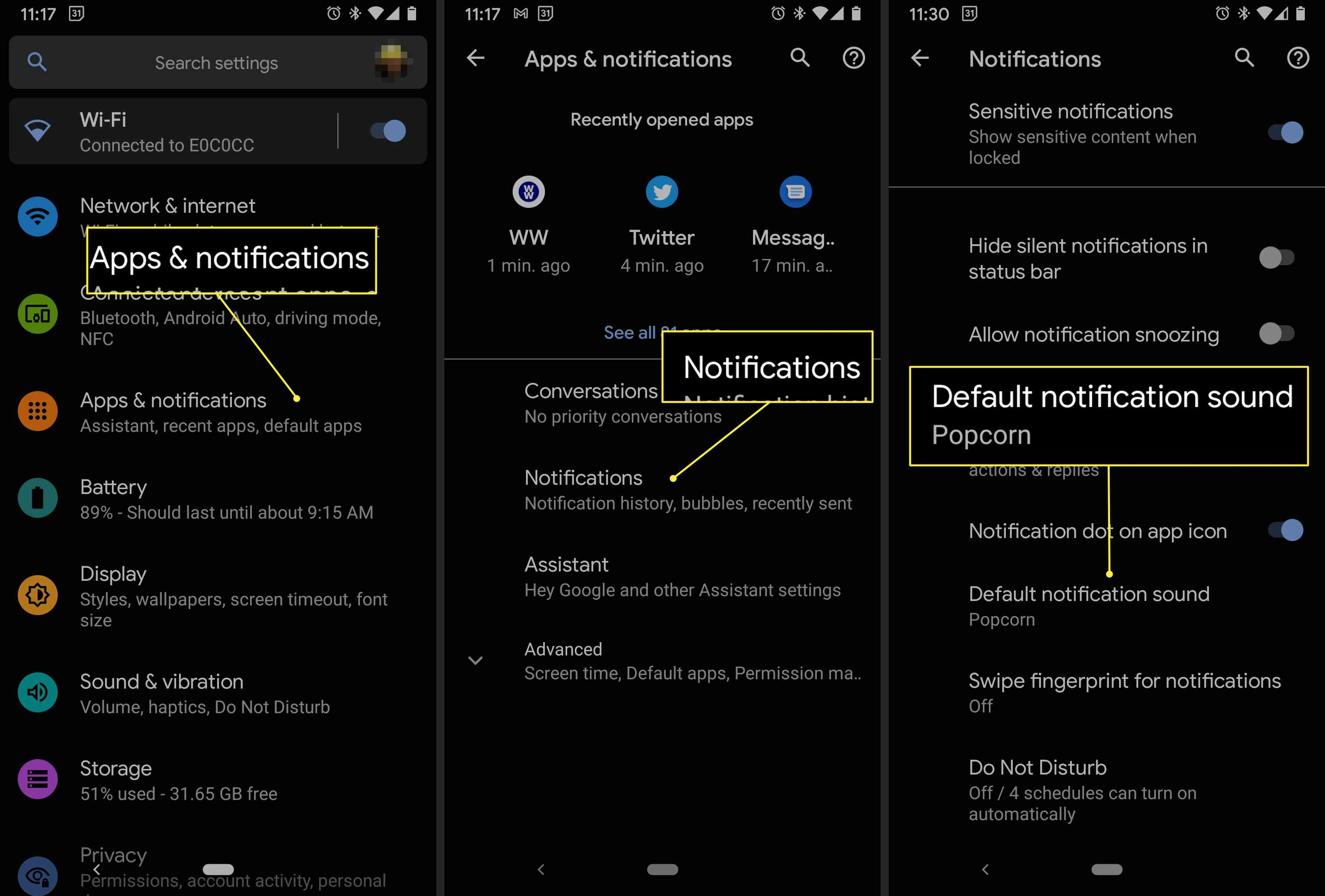 An Android user navigates to the Default notification sound option in settings