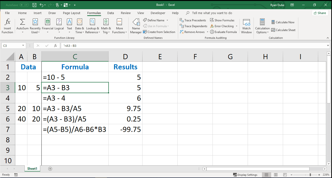 how to use subtraction in excel formulas