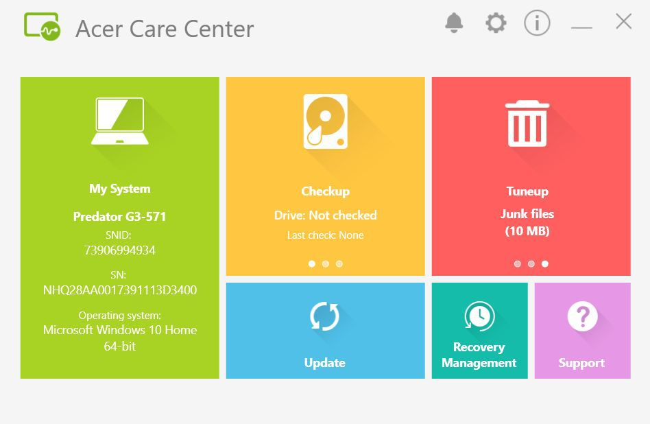 Acer care center screen