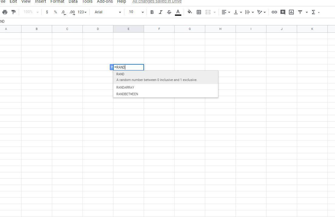 Using Google Sheets RAND Function
