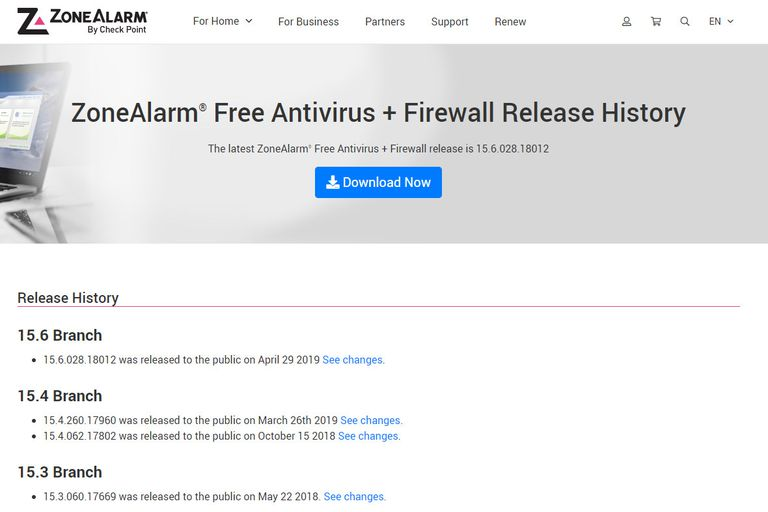 ZoneAlarm Free Antivirus + Firewall download page screenshot