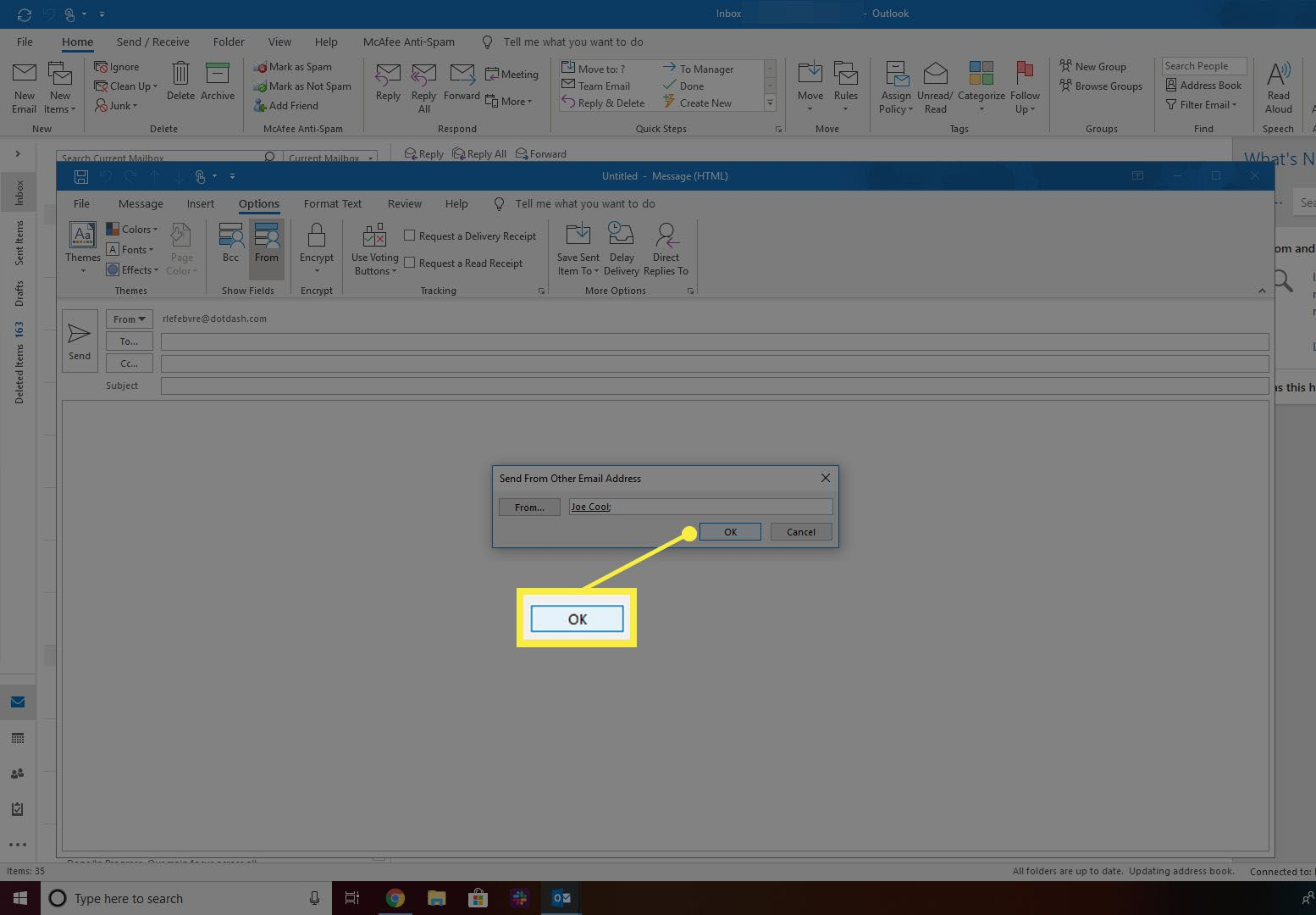 OK button in From address chooser for Outlook.
