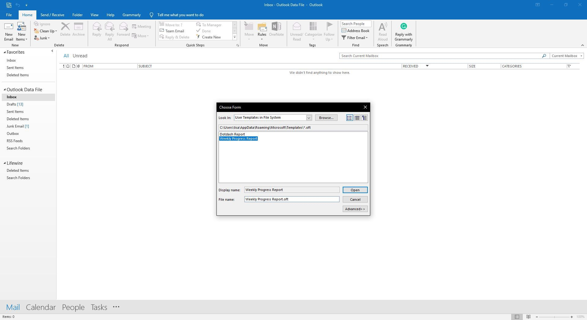 Choosing Which Template To Use For A New Email In Outlook