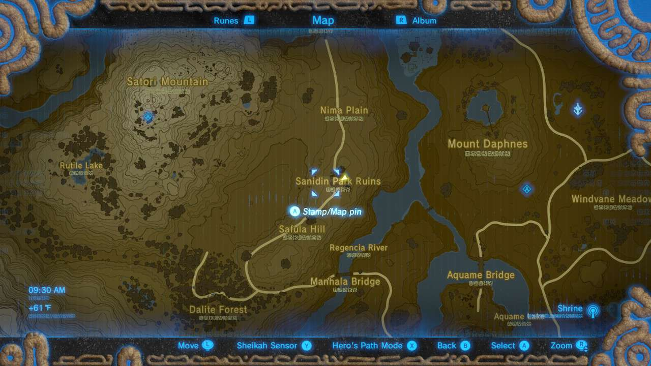 Map of Sanidin Park Ruins in The Legend of Zelda: Breath of the Wild.