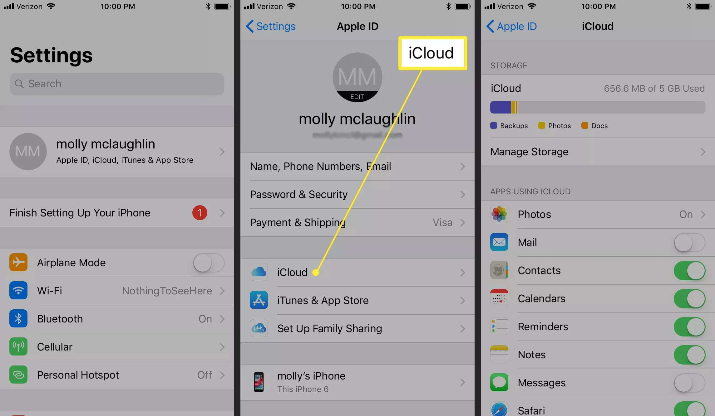Screenshots of iOS settings with 'iCloud' highlighted