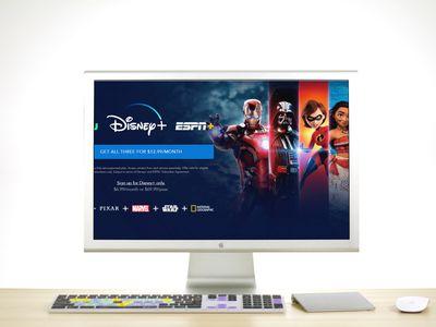Disney Plus on an Apple Cinema Display