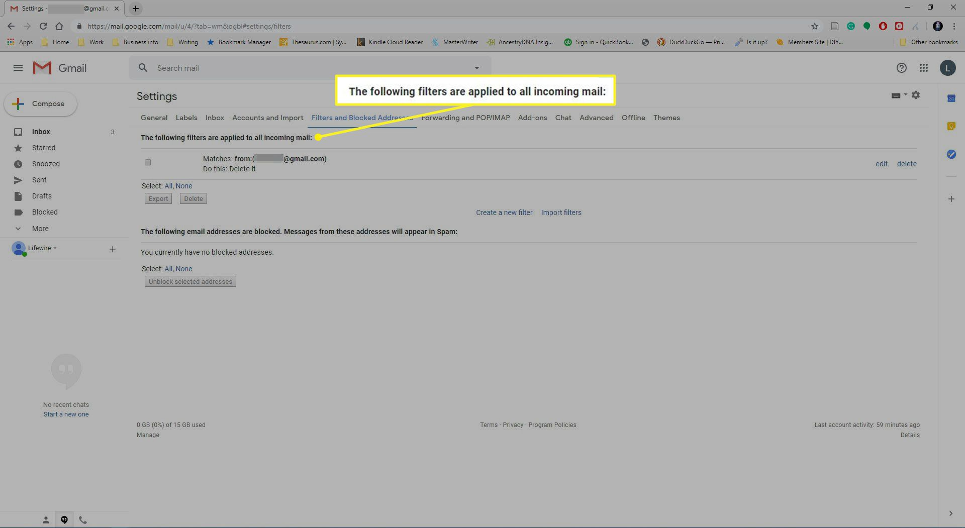 Filters and blocked addresses in Gmail