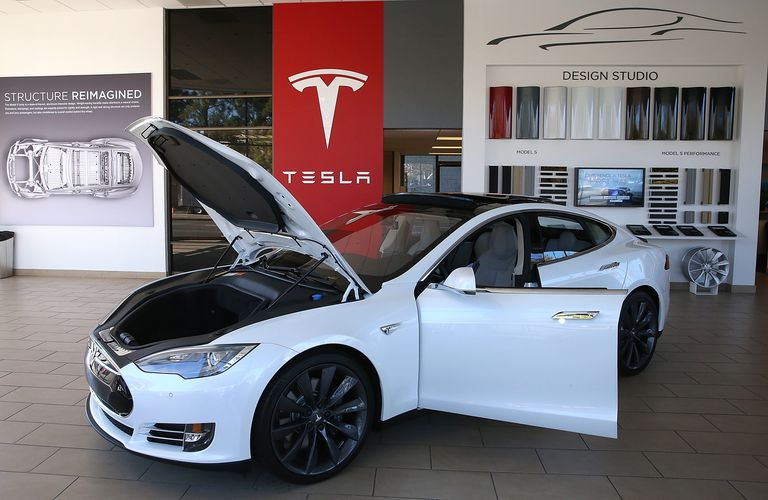 Tesla car in showroom