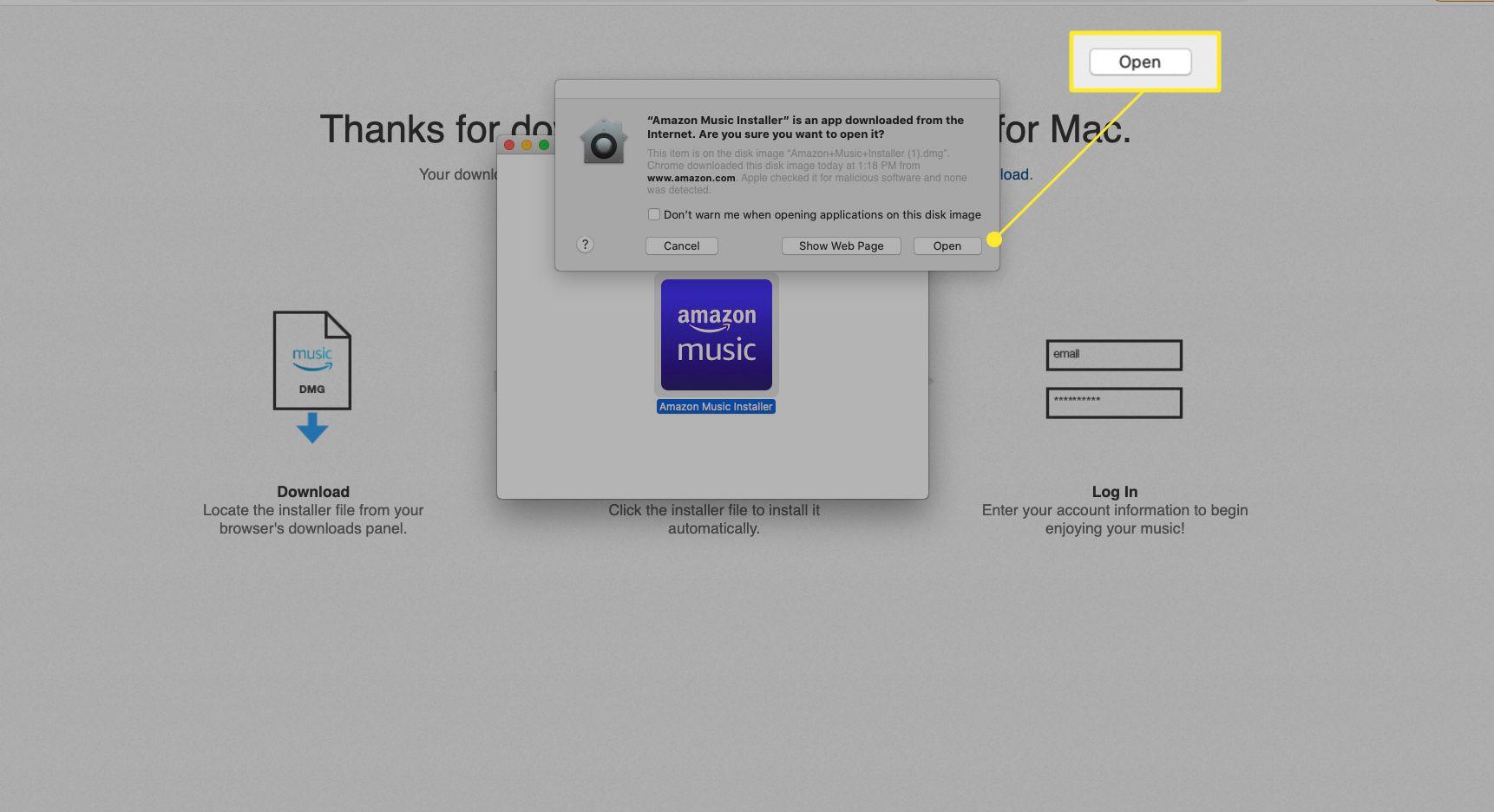 Amazon Music web app installer with