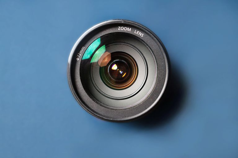 Close up of a camera lens.