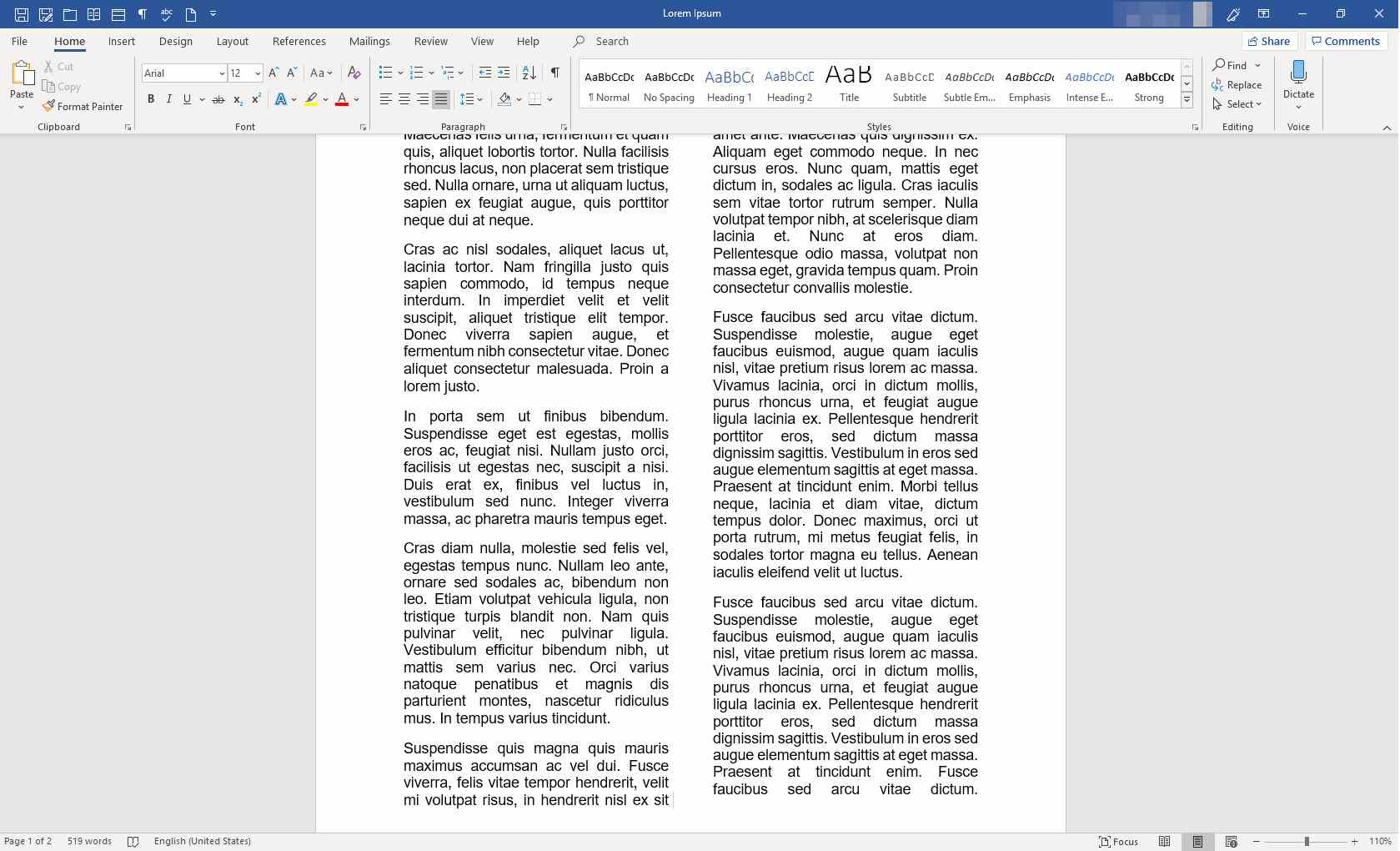 MS Word document with columns