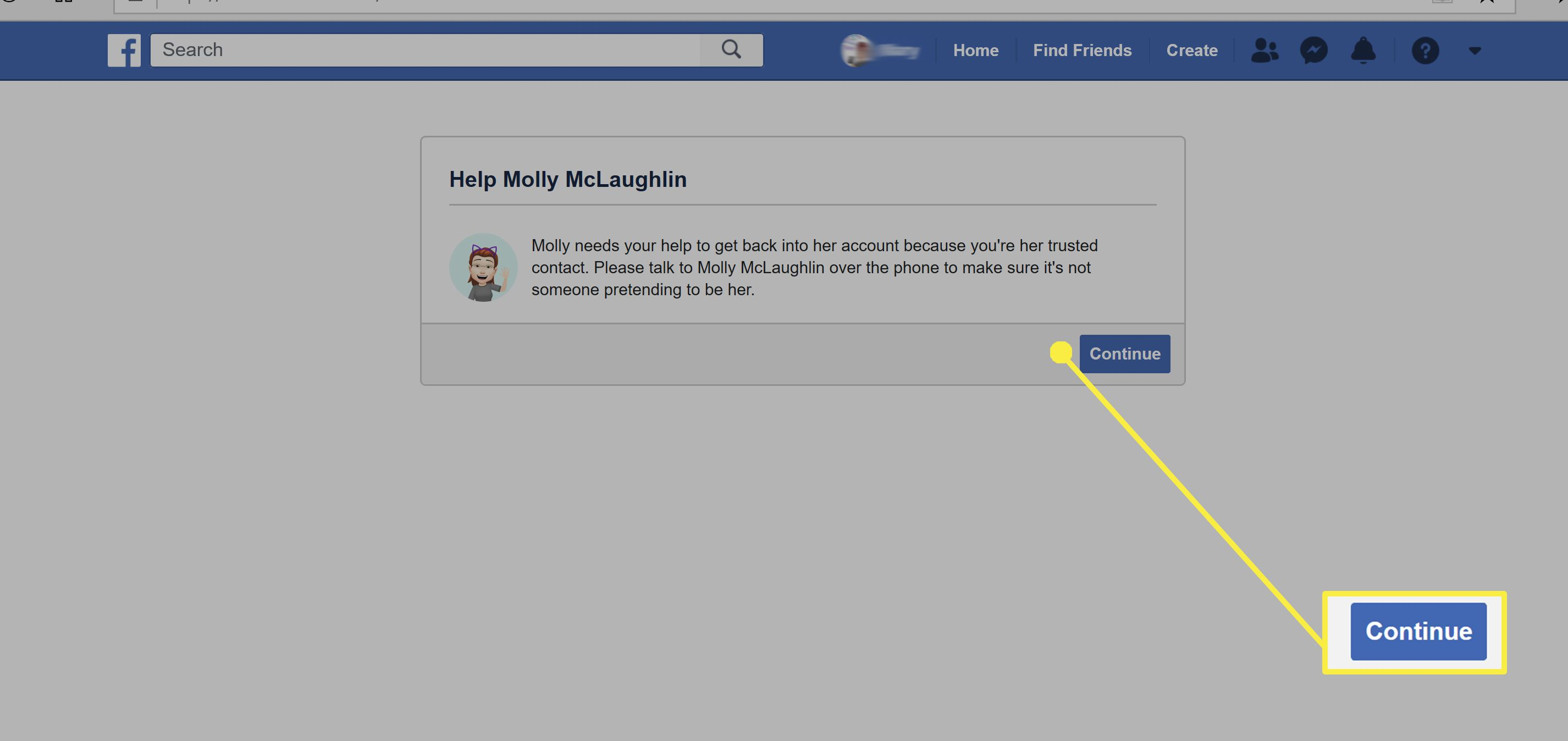 Setting up Facebook Trusted Contacts.