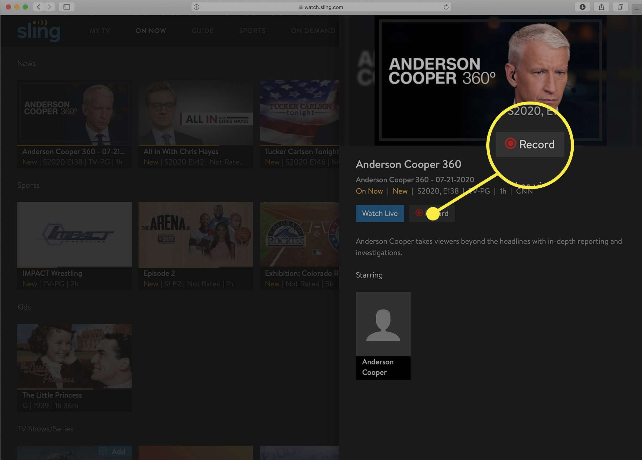 Screenshot of the Sling TV show information screen with Record option.