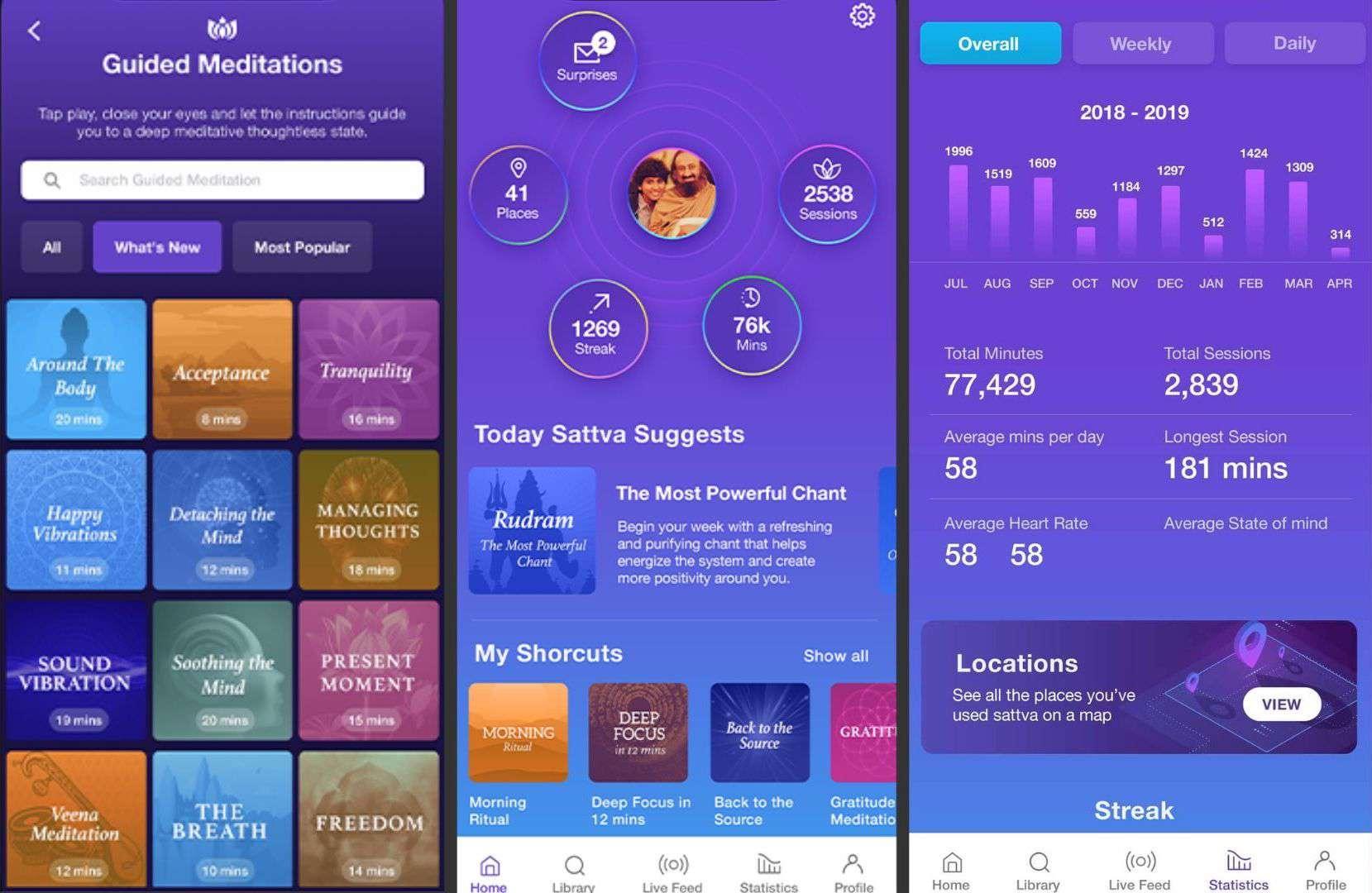 Three screenshots of the Sattva app.