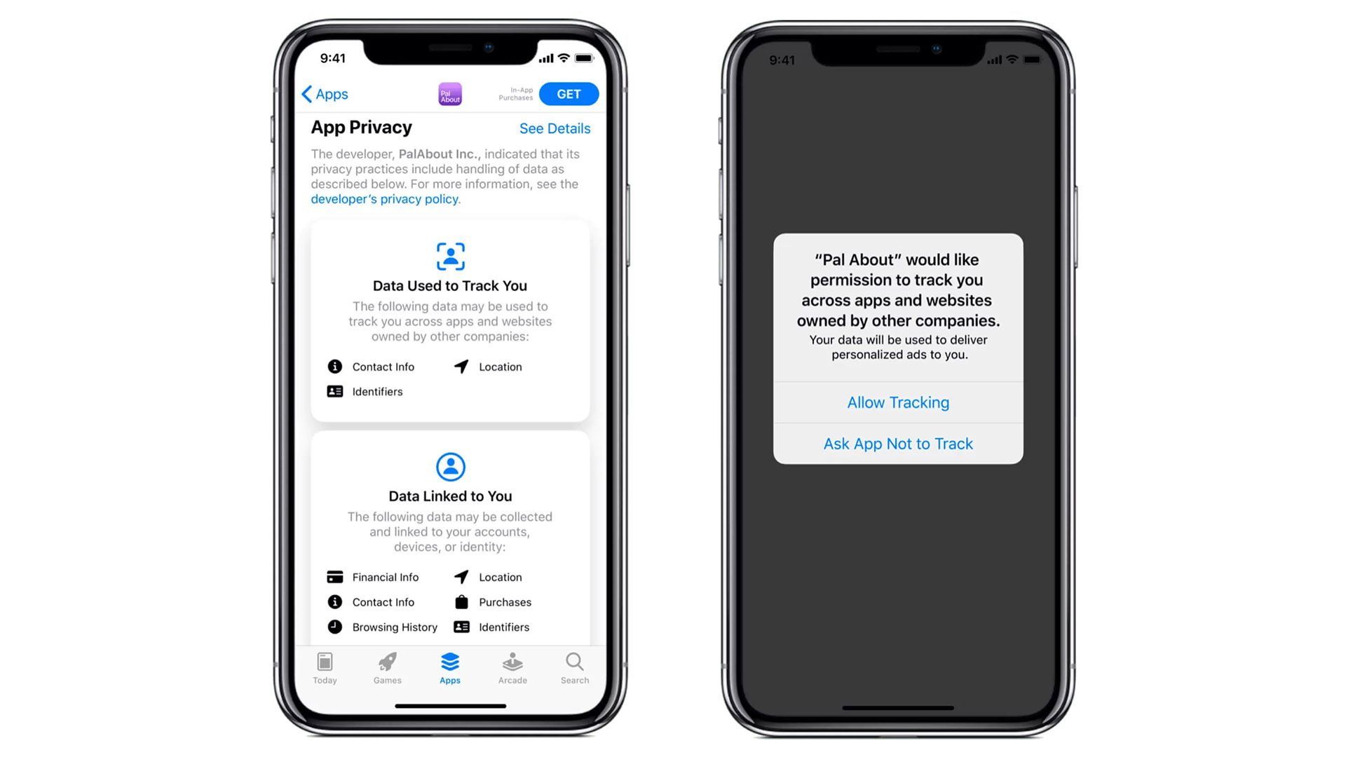 App tracking prompts on an iPhone.