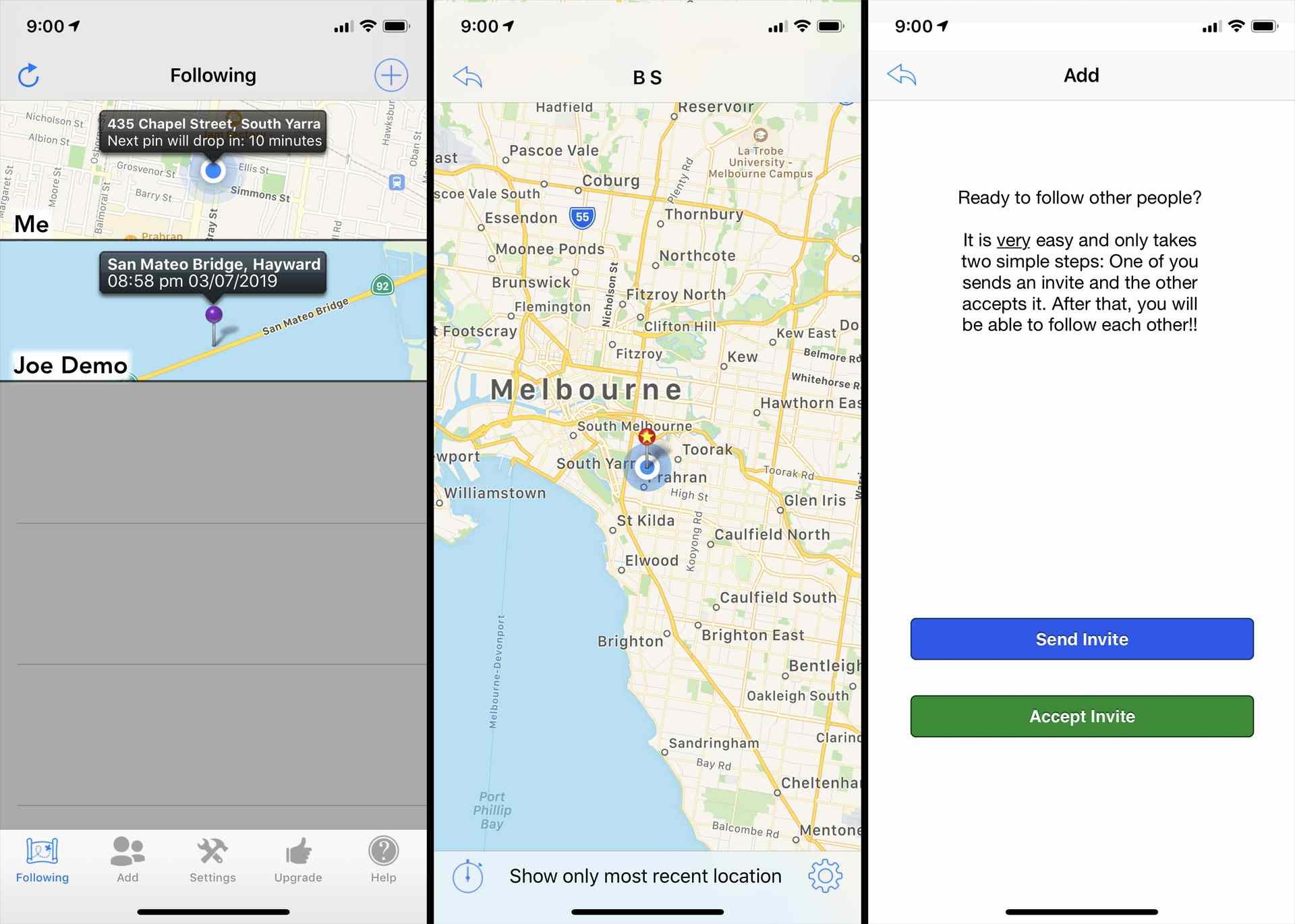 Phone Tracker app on iOS.