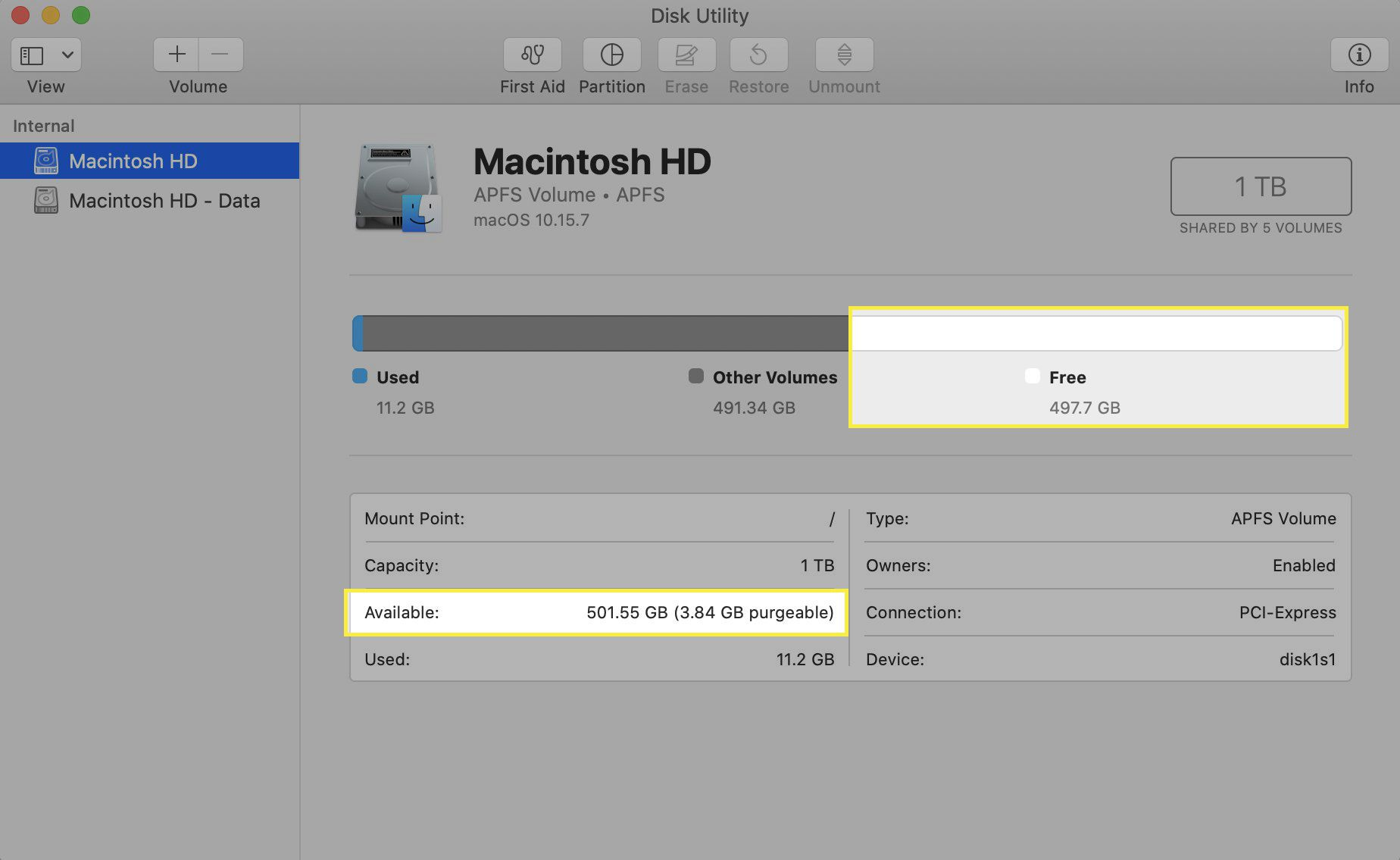 Disk Utility program showing how much free storage space is left.