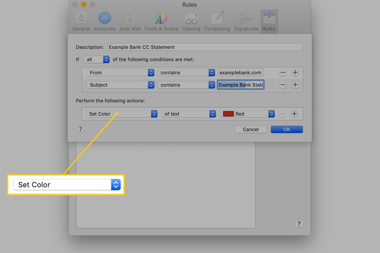 Set Color menu in macOS Mail Preferences