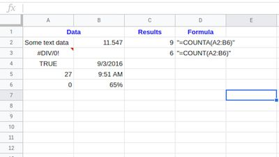 Count in Google Sheets with COUNTA