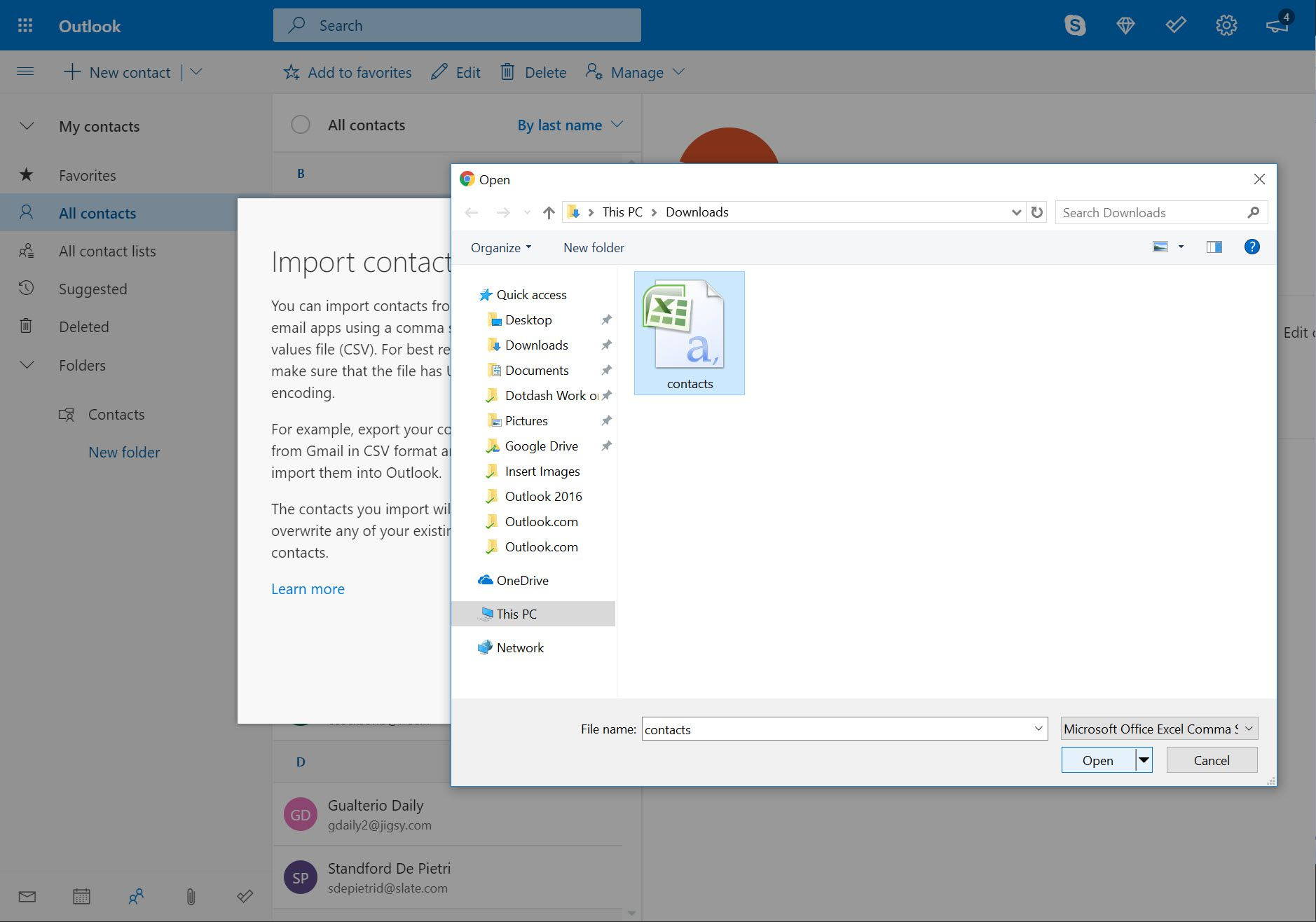 Open window in Import contacts in Outlook.com