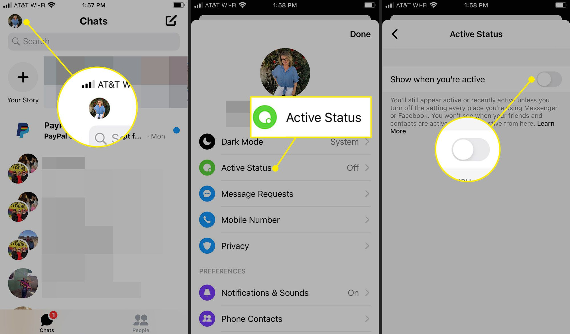 Turning off active status in Messenger for iOS