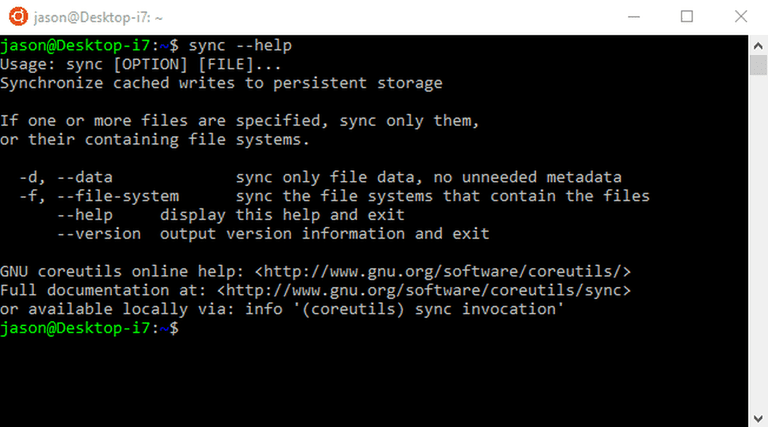 Linux sync command terminal screenshot
