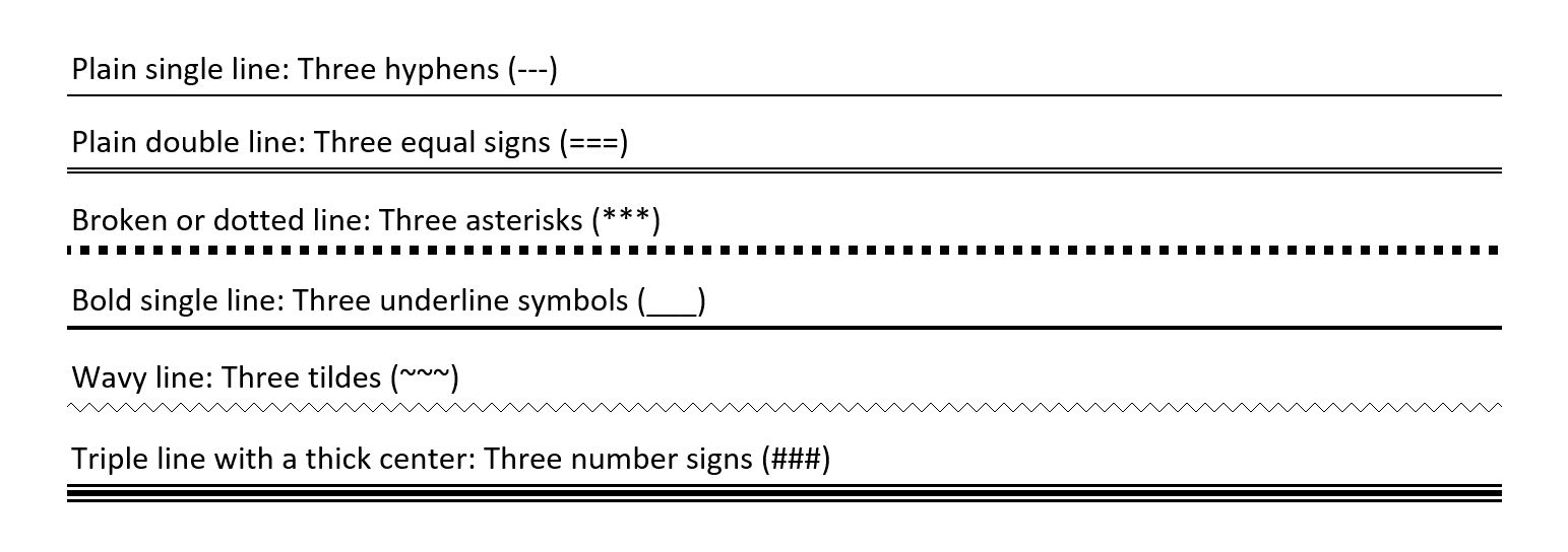 Line types in Word