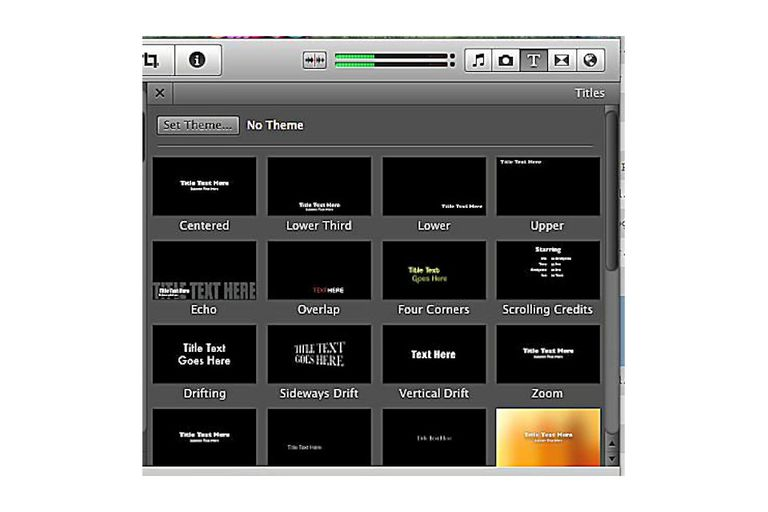 iMovie titles screenshot