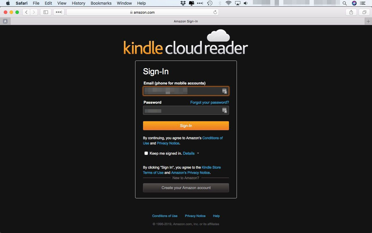 The log-in page for the Kindle Cloud Reader site