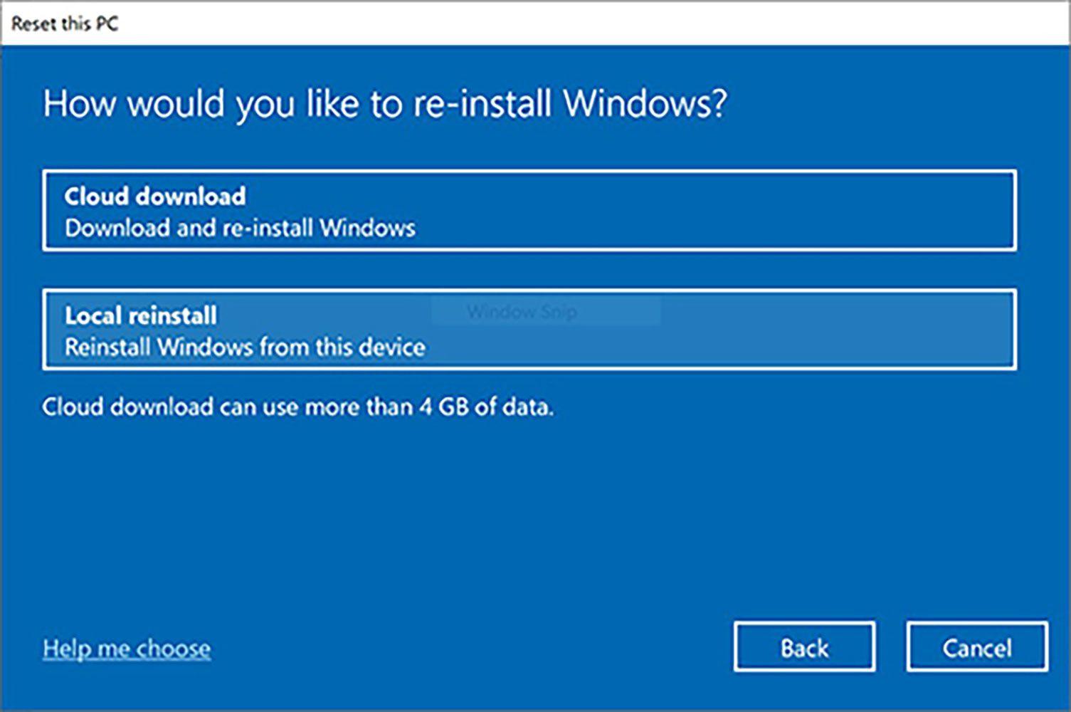 Windows reinstall options