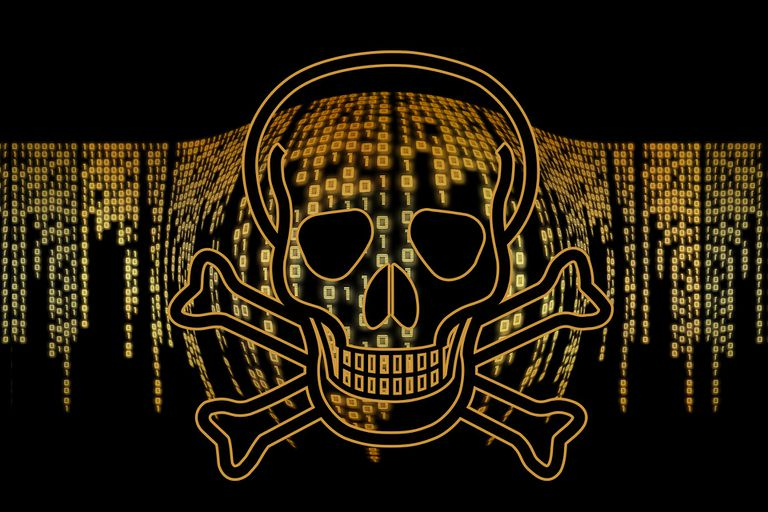 Ones and zeros behind a golden skull and crossbones.