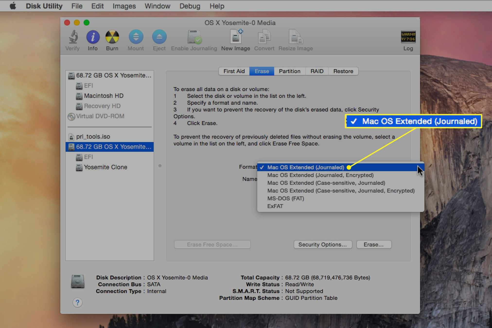 Disk Utility with Mac OS Extended (Journaled) selected as the format