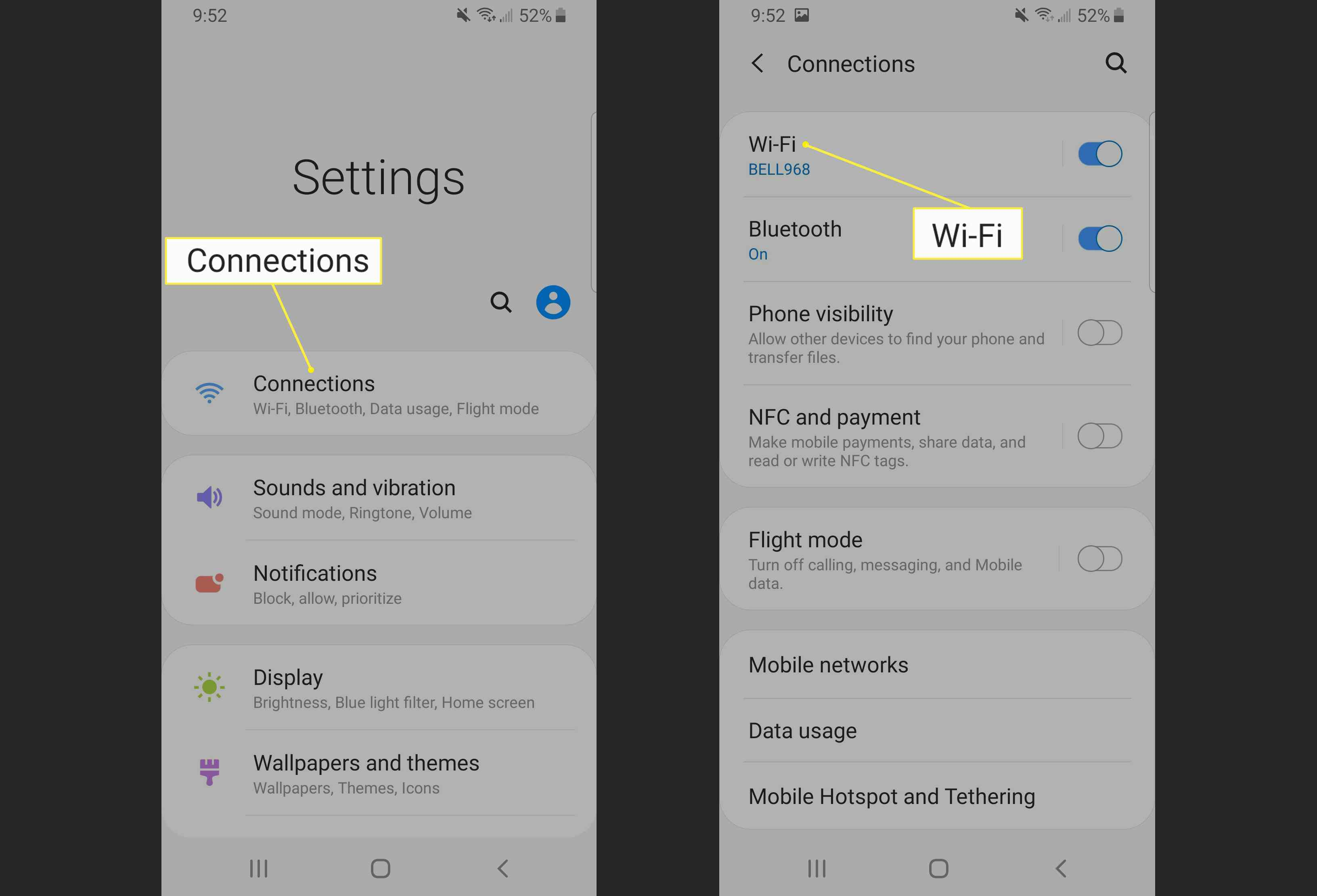 Connections menu on a Galaxy S8 with Wi-Fi highlighted.