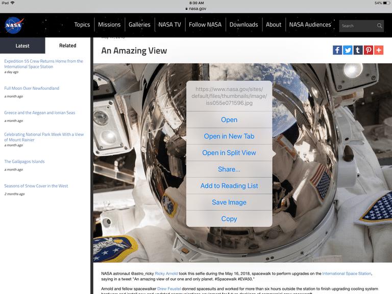 Screenshot of NASA photo of the day