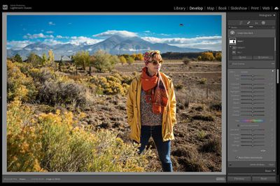 Using Adobe Lightroom to edit a photo of a woman outside