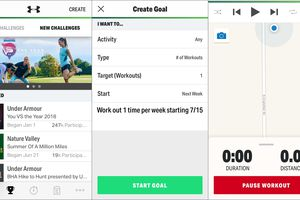 Screenshots of the Map My Hike iPhone app