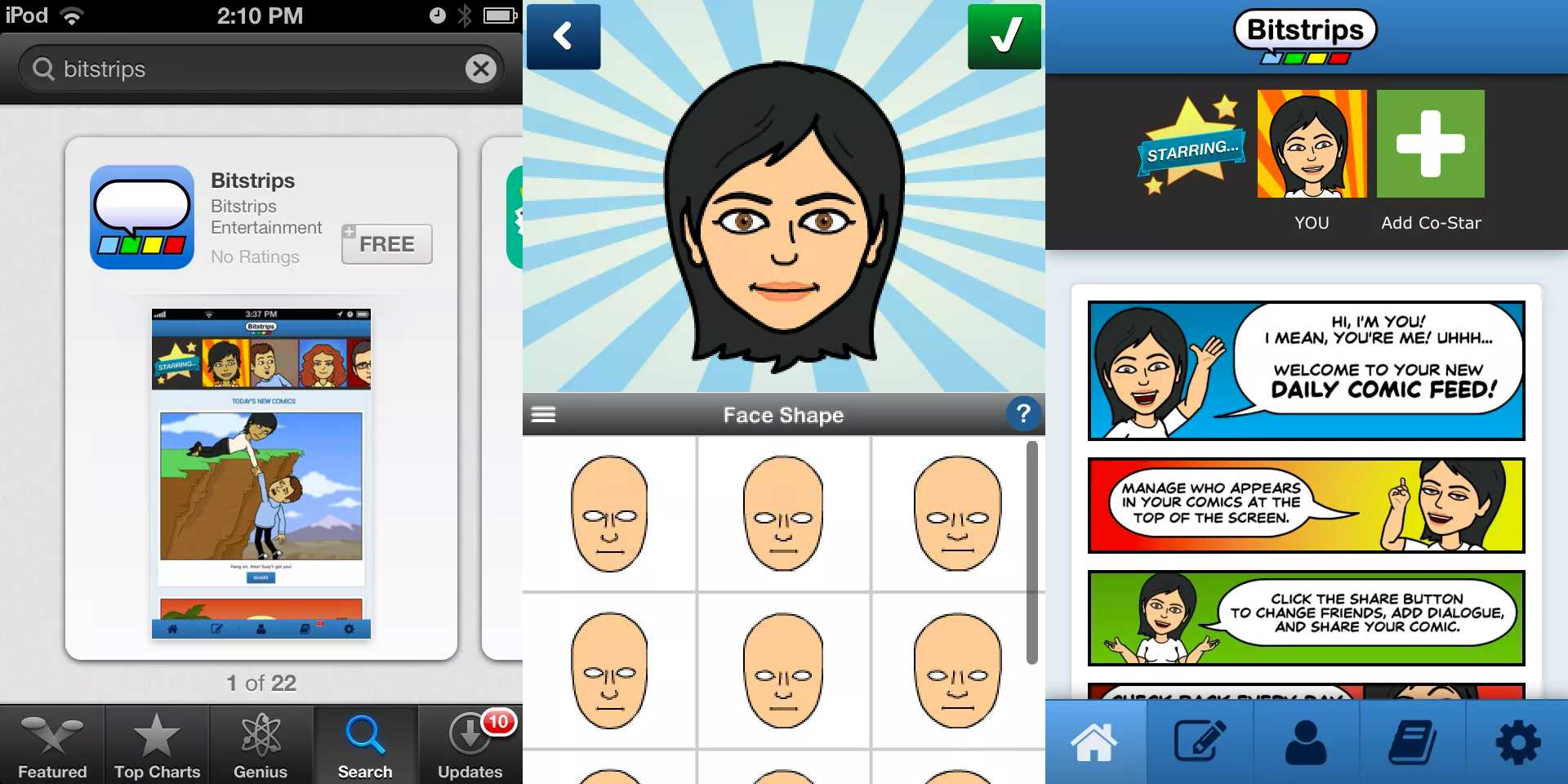 Download screen, Face Shape screen, and Home screen for Bitstrips app on iOS