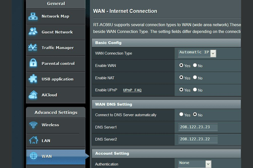 A screenshot of ASUS DNS settings