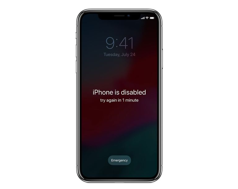 disabled iphone error message