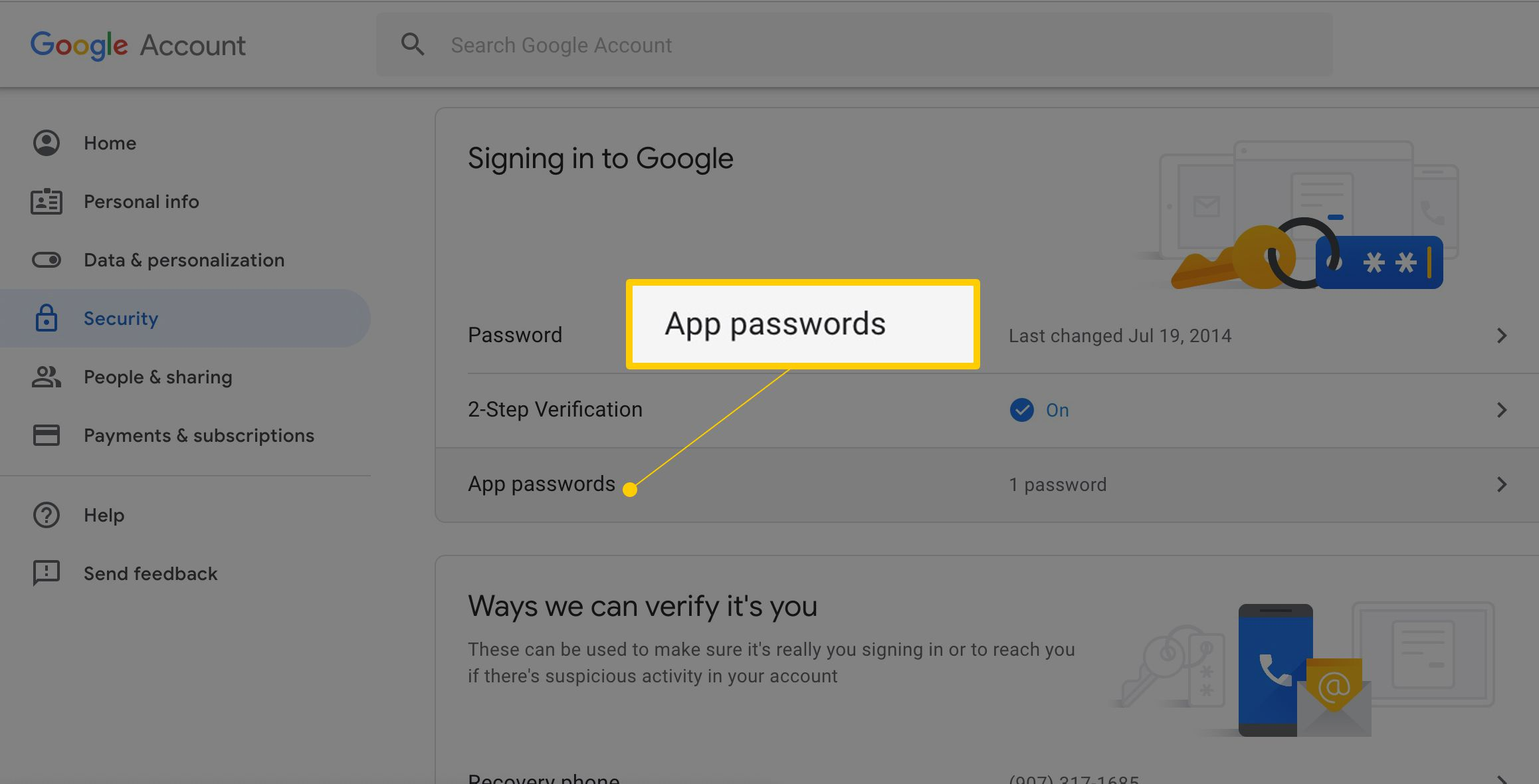 Create a Gmail Application Specific Password (POP/IMAP)