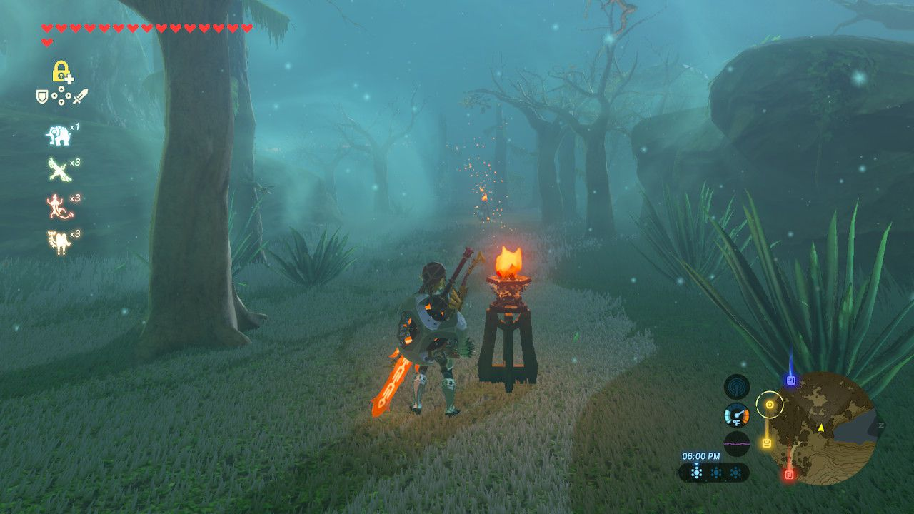 Following the line of lit lanterns in the Lost Woods in The Legend of Zelda: Breath of the Wild