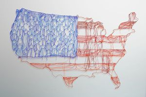 Map of USA with scribbly american flag drawn into it