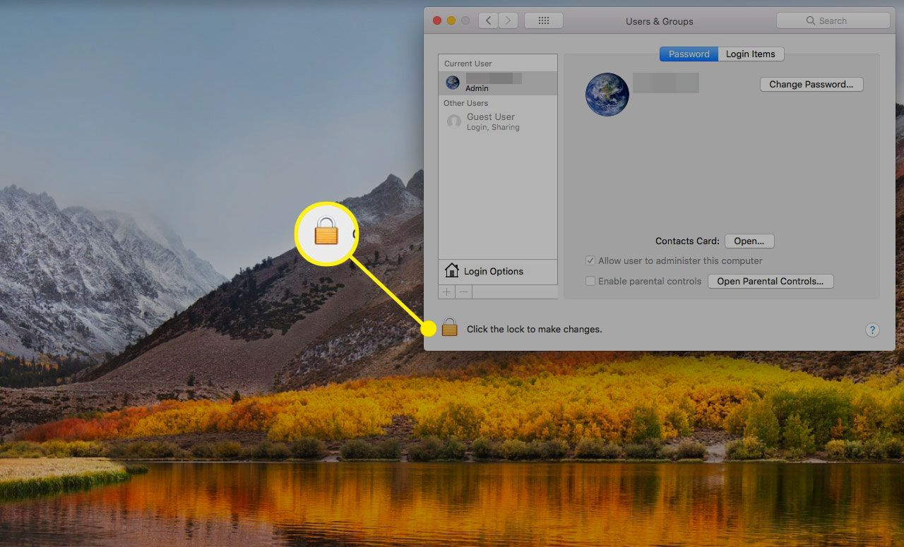 Users & Groups settings on a Mac with the Lock icon highlighted