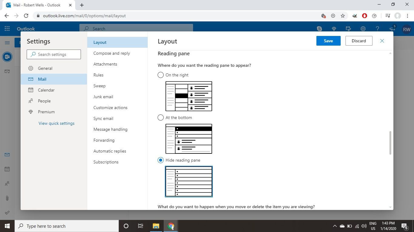 Select the Layout tab and select Hide reading pane under Reading Pane.