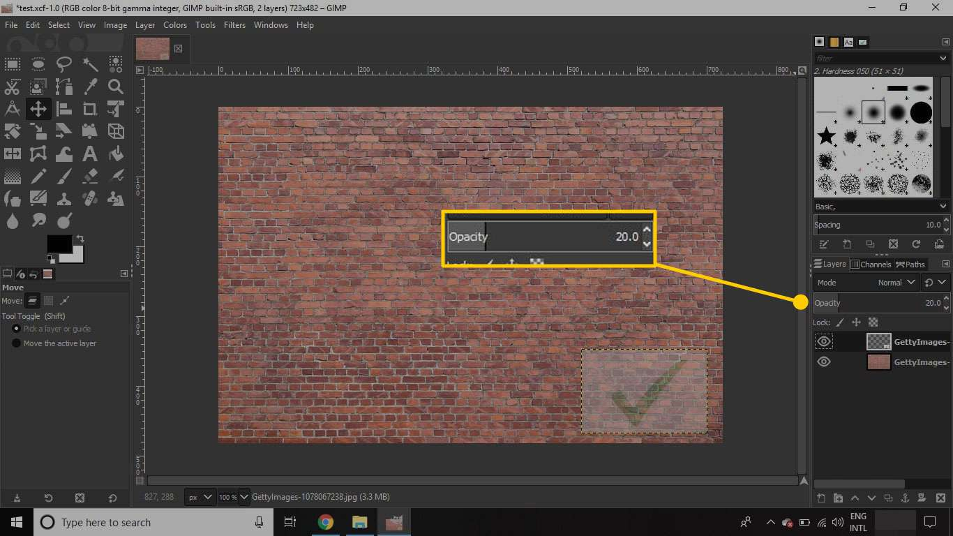 A layer in GIMP with the opacity slider highlighted