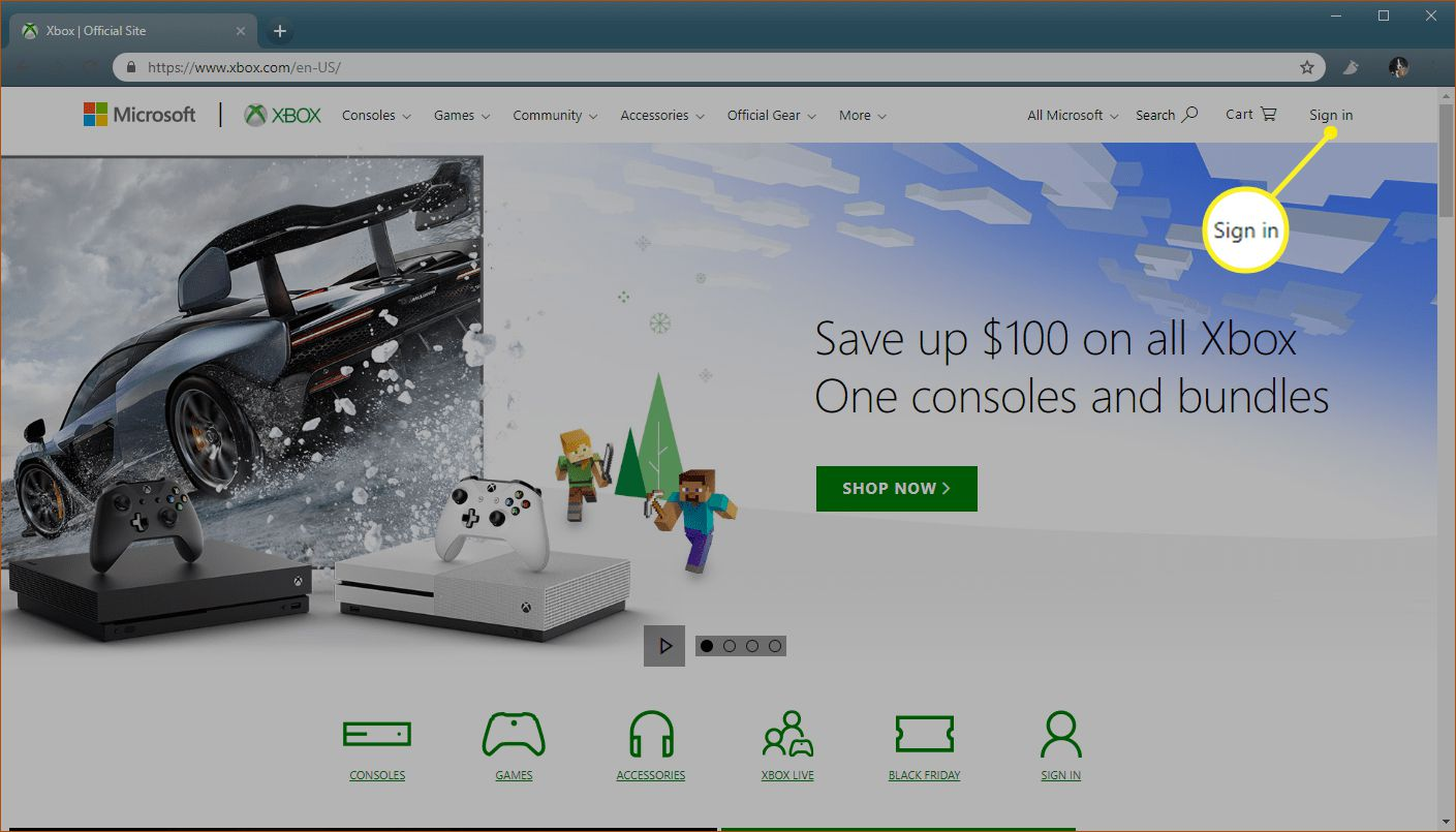 Xbox.com website with Sign in highlighted