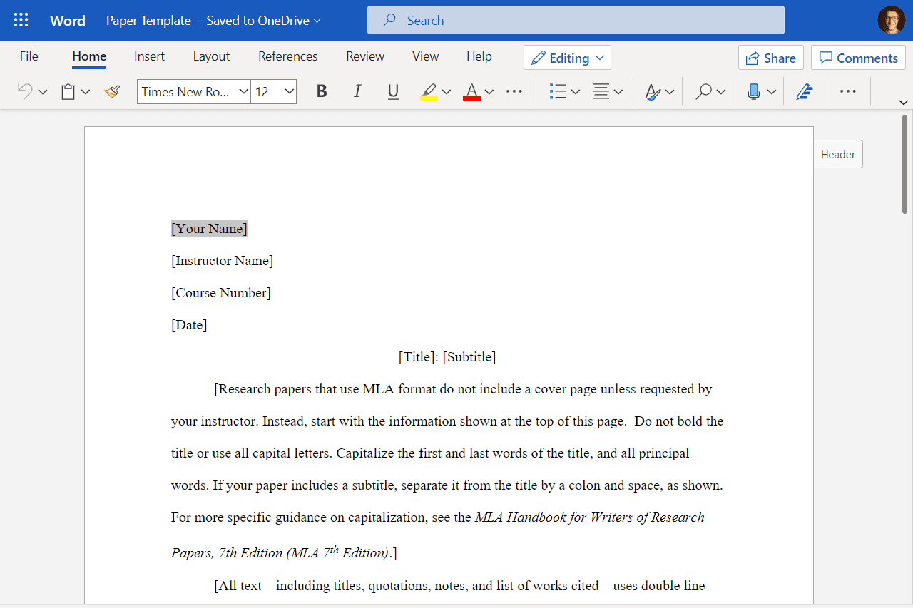 Screenshot of a document open in the free online version of Microsoft Word