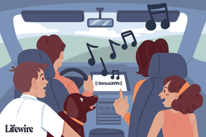Illustration of people in a car listening to SiriusXM